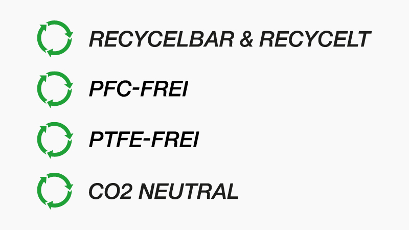 Öko-Icons: Recycelbar/Recycelt, PFC-& PTFE-frei, CO2 neutral